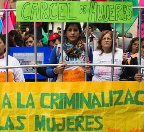 Demonstratie tegen de vervolging van Belén uit Argentinië.