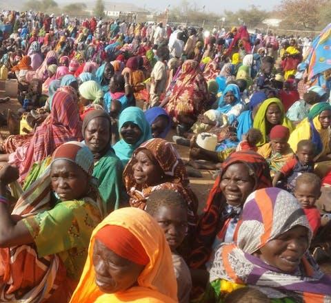 Mensen ontheemd door geweld in Jebel Marra, Darfur