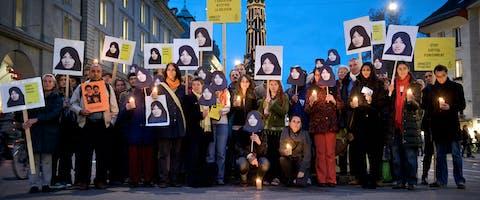 Amnesty Zwitserland demonstreert tegen de voorgenomen executie van de Iraanse Sakineh Ashtiani