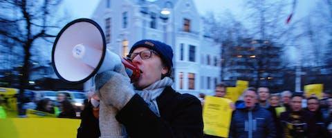 Demonstratie in de Noorse hoofdstad Oslo voor de bevrijding van de Raif Badawi, die in Saudi-Arabië tot tien jaar cel en duizend zweepslagen veroordeeld is