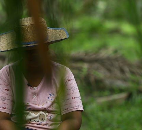 Vrouwelijke arbeider op een Indonesische palmolieplantage.