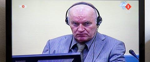 De voormalige bevelhebber van het Bosnisch-Servische leger Ratko Mladić wordt verhoord door het Joegoslaviëtribunaal in Den Haag in juni 2011. Hij was aangeklaagd voor genocide.
