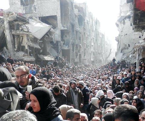 Vluchtelingen in al-Yarmouk, een vluchtelingenkamp ten zuiden van de Syrische hoofdstad Damascus (2014)