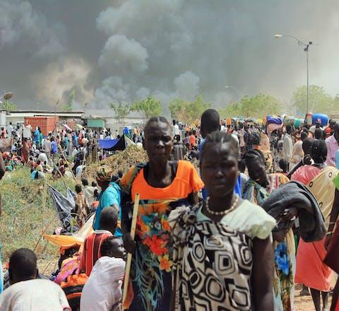 Zuid-Soedanese burgers op de vlucht voor het oorlogsgeweld