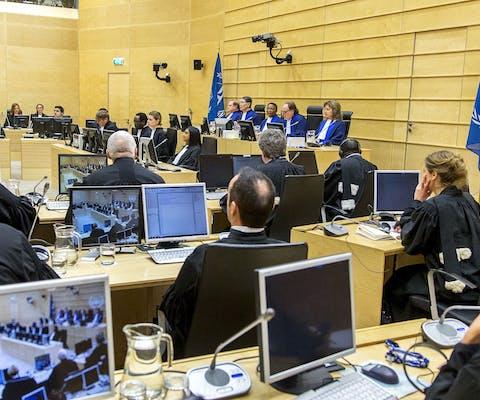 Het Internationaal Strafhof in 2015 tijdens het proces van de Congolese ex-rebellenleider Mathieu Ngudjolo Chui