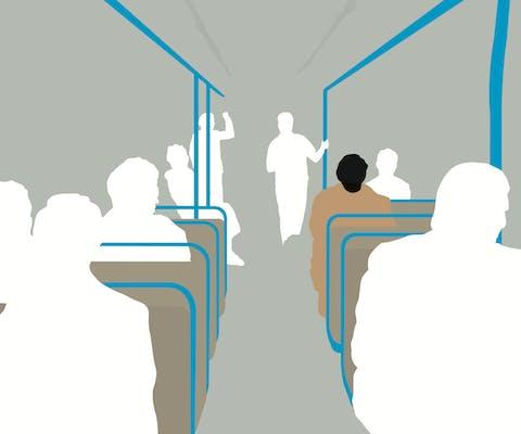 Illustratie van man in bus