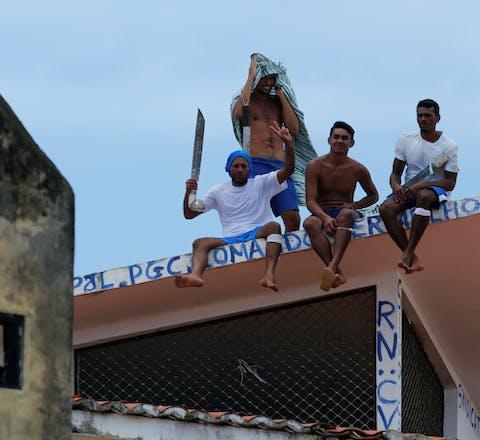 Gevangenen tijdens een protest in de Alcacuz-gevangenis in Natal, Rio Grande do Norte, Brazilië, 20 january 2017.
