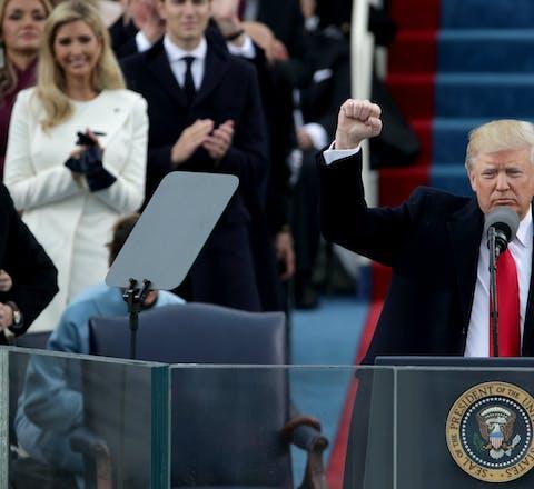 President Donald Trump bij zijn inauguratie, 20 januari 2017.
