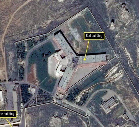 Satellietfoto van de beruchte Saydnay-gevangenis