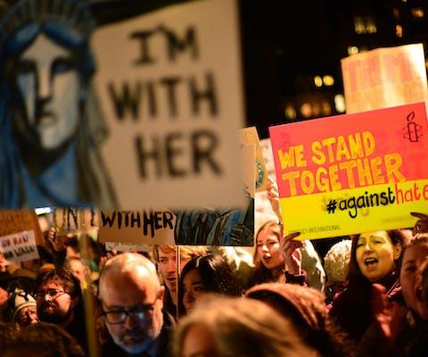 Protesten tegen het reisverbod voor moslims van Trump