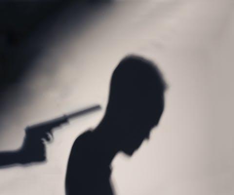 Silhouet van een gesimuleerde executie