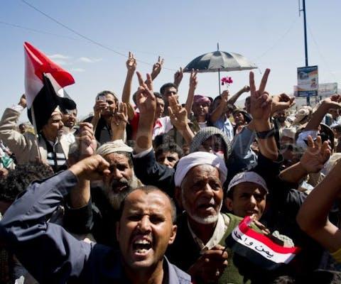 Protesten in Sanaa in oktober 2011.