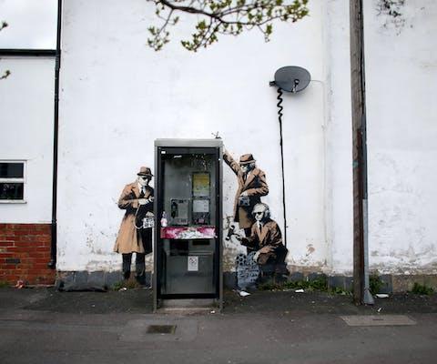 Straatkunst, mogelijk van grafittikunstenaar Banksy.