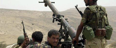 Jemenitische soldaat bij de stad Sada, in 2004.