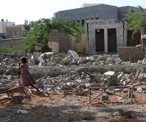 Meisjesschool in Al-Shaymeh nadat die was geraakt door een luchtaanval door de door Saudi-Arabië geleide coalitie. Hodeidah, november 2015.