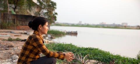 Tep Vanny bij het Boeung Kak-meer in Cambodja.