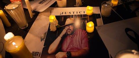 Mexicaanse journalisten protesteren tegen de moord op hun collega Javier Valdez en roepen de regering op actie te ondernemen Foto: Sergio Ortiz Borbolla/Amnesty International