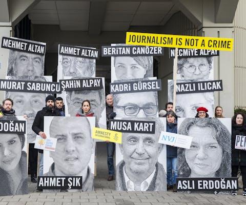 Demonstratie voor gevangen journalisten in Turkije