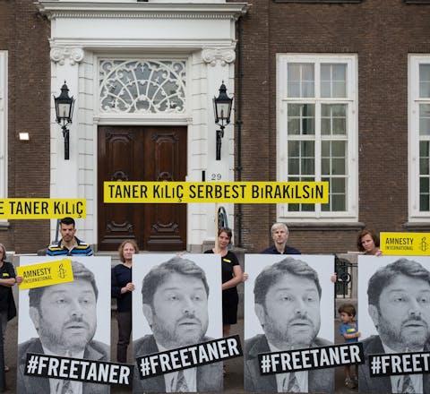 Actie voor Taner Kiliç in Den Haag