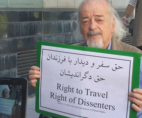 Elderly human rights defender Dr Mohammad Maleki, 84, is being prevented from leaving Iran to visit his children in the Netherlands and Canada. The authorities have placed him on a travel ban since 2011, in reprisal for his peaceful human rights activism.
