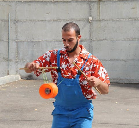 Mohammad Faisal Abu Sakha, a 23-year-old Palestinian circus performer held by the Israeli military with charge or trial