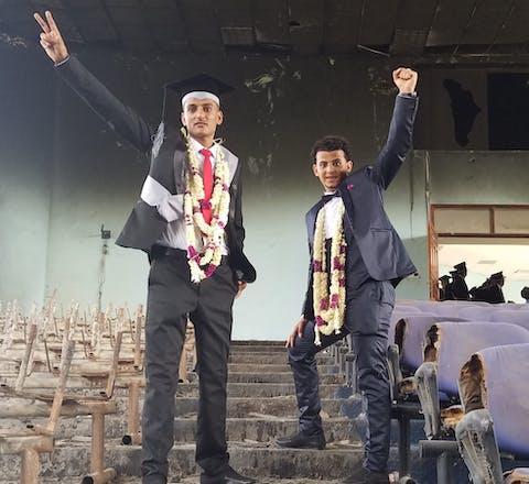 Diploma-uitreiking op een universiteit in Jemen, 2017