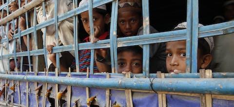 Rohingya-kinderen in de staat Rakhine, Myanmar