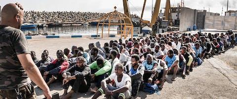 Vluchtelingen in Libië.