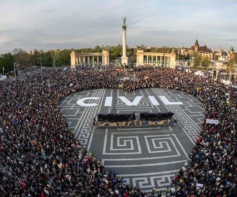 Demonstratie in Hongarije.