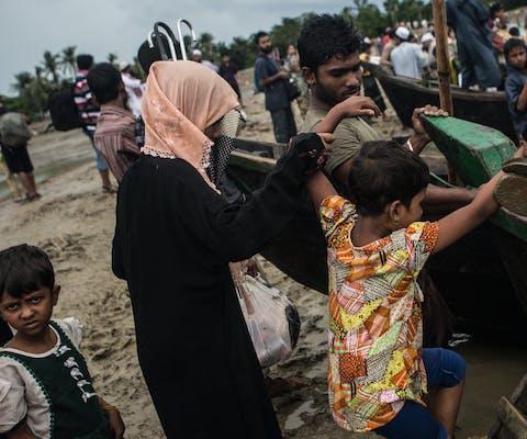 Gevluchte Rohingya komen in Bangladesh aan, september 2017