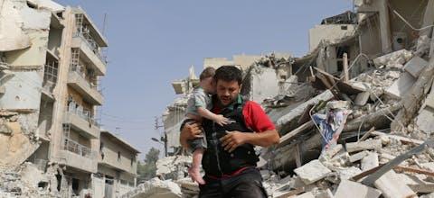 Inwoners van Aleppo op de vlucht