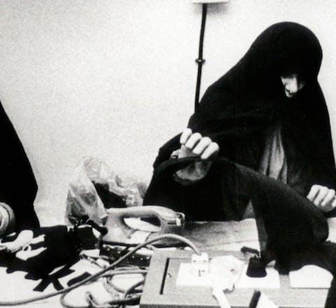 Vrouwen in de Evin gevangenis in Teheran, Iran (1987)