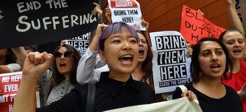 Demonstratie van asieladvocaten in Sydney in November 2017. Ze eisen de onmiddellijke evacuatie van asielzoekers van het eiland Manus in Papoea-Nieuw-Guinea naar Australië.