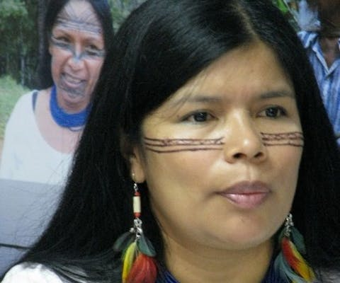 Patricia Gualinga, from the Kichwa community of Sarayaku, at the press conference before their hearing at the Corte Interamericana de Derechos Humanos (Inter-American Court of Human Rights), Costa Rica, July 2011. The Indigenous Kichwa People of Sarayaku (Pueblo Originario Kichwa de Sarayaku) of Ecuador is campaigning for their right to be consulted, including their right to consent, regarding development projects that affect them. Some time ago, the government authorized a company to enter their ancestral land and drill for oil without having consulted with Sarayaku beforehand. Sarayaku's case is representative of the case of many other Indigenous communities across the Americas. But they have gone a step farther. Having exhausted all judicial avenues at home, they have taken their case to the Inter-American Court of Human Rights. The Court's forthcoming ruling will send a strong message to the Ecuadorian government and to all governments across the region. Amnesty International is supporting Sarayaku's campaign to defend their own rights and the rights of many other communities across the Americas. Governments must consult with Indigenous people before carrying out development projects which may affect their lives.