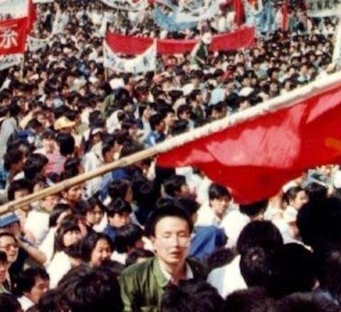 De protesten op het Tiananmenplein in Bejing in 1989.