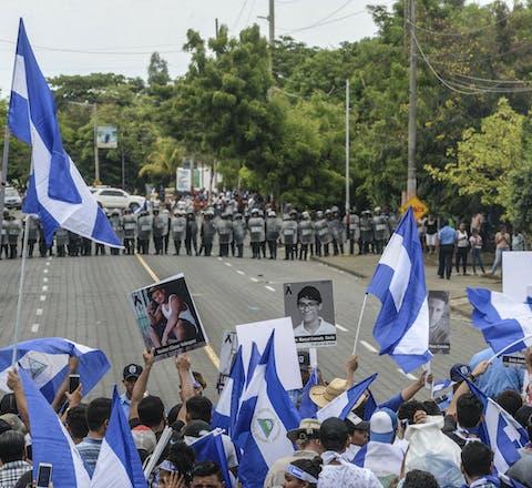 Demonstratie in Managua, Nicaragua