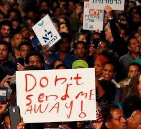Protest tegen gedwongen uitzetting van Eritreeëse en Sudanese asielzoekers door Israël