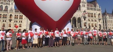 Demonstratie in de Hongaarse hoofdstad Boedapest tegen het anti-immigratiebeleid van premier Orbán