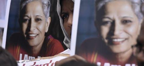 Protest na de dood op de Indiase journaliste Gauri Lankesh