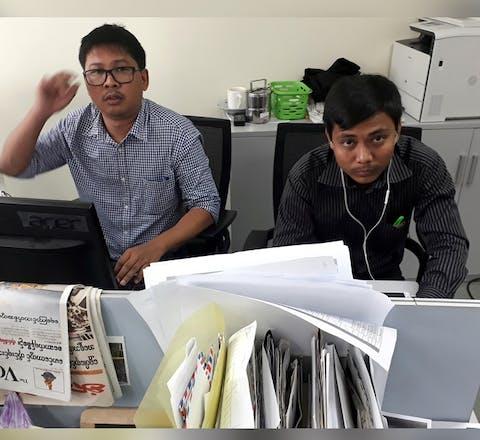 Reuters-journalisten Wa Lone en Kyaw Soe Oo in Myanmar