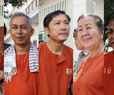 Vijf activisten in Cambodja, de Adhoc five, voorwaardelijk veroordeeld vanwege 'omkoping'