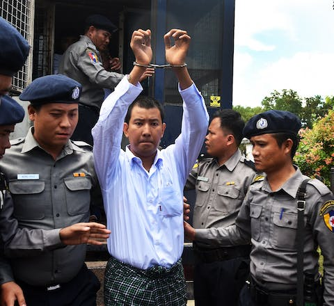 Former child soldier, Aung Ko Htwe, arrives at his court hearing