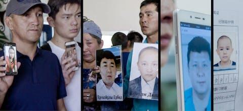 Demonstranten met foto's van verdwenen Oeigoeren. In China zitten circa 1 miljoen Turkstalige moslims opgesloten in 'heropvoedingskampen'.