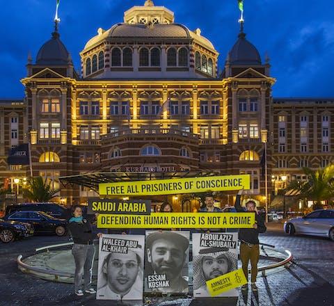 Amnesty actie bij het Kurhaus