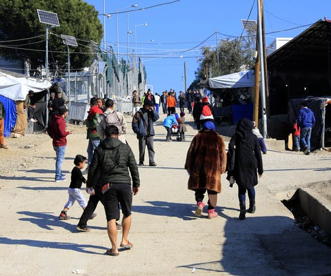 General view of the Moria refugee camp on the island of Lesvos, Greece 2018