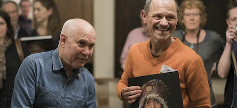 4 maart 2017 - kick-off van de Amnesty-collecte in Helmond, met Twan (rechts) en fotograaf Steve McCurry (links)