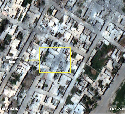Verwoeste huizen in Raqqa, Syrië, na aanslagen in augustus 2017.