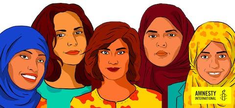 Vrouwenactivisten Loujain al-Hathloul, Iman al-Nafjan, Aziza al-Youssef, Samar Badawi and Nassima al-Sada