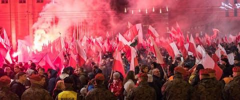 Demonstratie in de Poolse hoofdstad Warschau op Onafhankelijksheidsdag 11 november 2018