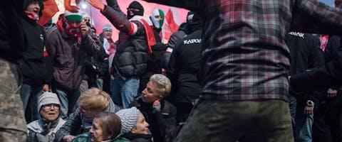 Een aantal van de vrouwen die op 11 november 2017 in Polen op Onafhankelijkheidsdag demonstreerden